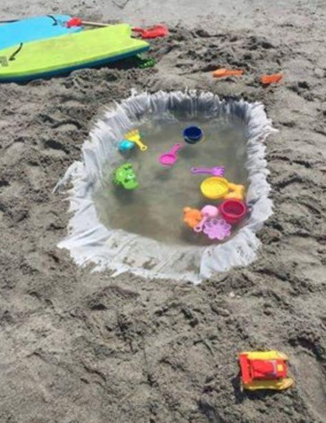 Mit Einem Alten Duschvorhang Kannst Du Für Die Kinder Einen Kleinen Pool Am  Strand Bauen.