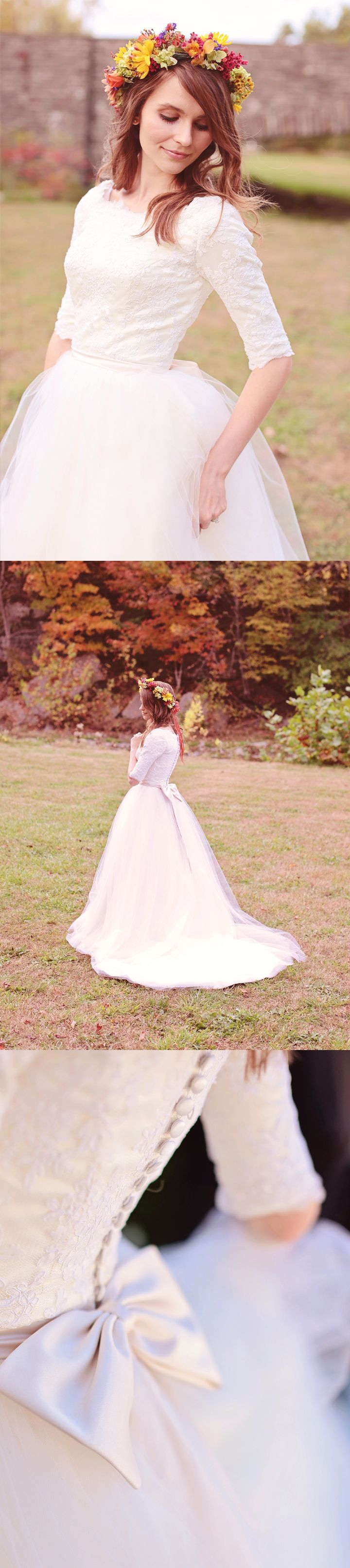 Long-sleeve wedding gown from Avail & Company. Almost any custom changes can be made to the design.