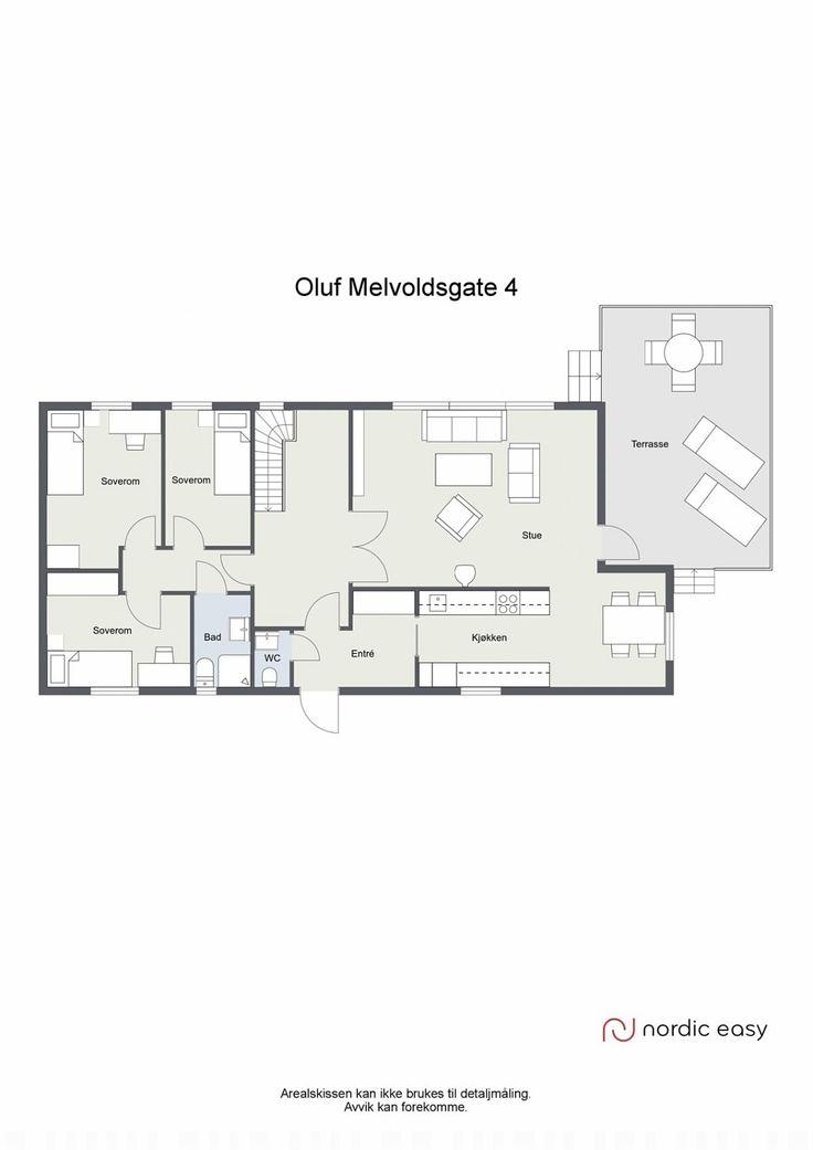 Veldig god alt-på-ett-plan: garderobeplass ved inngang, kjøkkeninngang, halvåpent spisesue/kjøkken og spisestue/stue, åpen hall mellom sove- og dagavdeling, to toaletter på hovedplan. (Boligen har full kjeller også.)