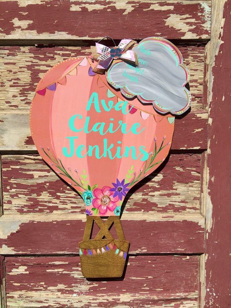 Hot Air Balloon Hospital Door Hanger, Hot Air Ballon Nursery, Hot Air Balloon Decor, Hot Air Balloon Door Hanger, Hot Air Balloon, Decor by TheSalvageSistersTX on Etsy https://www.etsy.com/listing/452398630/hot-air-balloon-hospital-door-hanger-hot