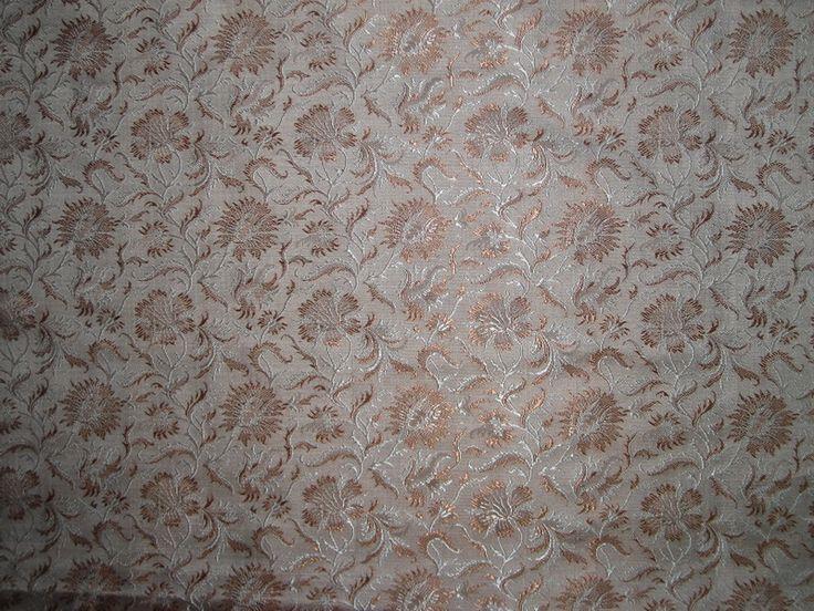 100% Pure Silk Brocade fabric Brown,Beige & Cream Colour
