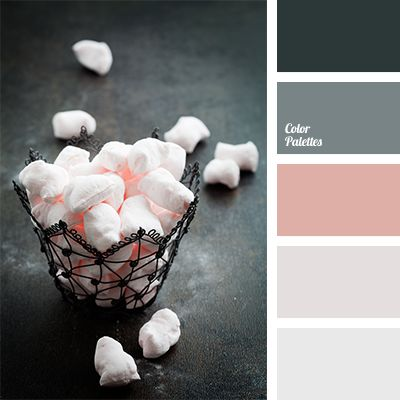Delicate peach-pink of marshmallow will look very contrasting against a background of graphite gray colour. This palette is perfect for decotaing house for.
