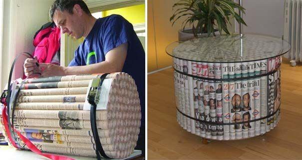 Ak máte doma nejaké staré noviny a neviete čo s nimi, tu je šikovný nápad ako ich recyklovať a opätovne využiť vo forme konferenčného stolíka alebo taburetiek.
