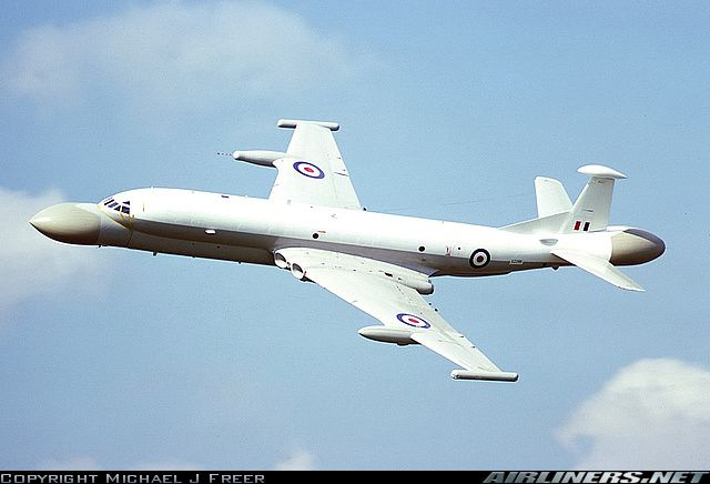Nimrod - AEW with radar systems installed in the nose and the tail to provide 360 degrees of coverage.
