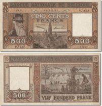 500a4 Bankbiljet 500 BEF Hierop wordt op de keerzijde een Kongolese familie aan de oever van de Kongostroom weergegeven.