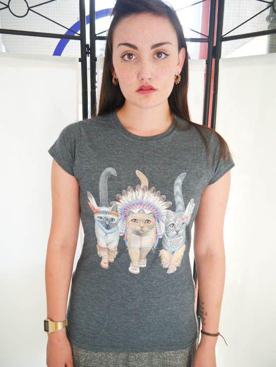 Cat Indians Ladies Cat T-shirt Cats T-shirt Cats Pets by WLCSHOP