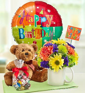 Mugable With Flowers Balloon And Treats To Say Hy Birthday Birthdaypresents Teddybear