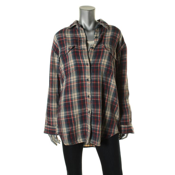 Denim & Supply Ralph Lauren Womens Flannel Plaid Button-Down Top