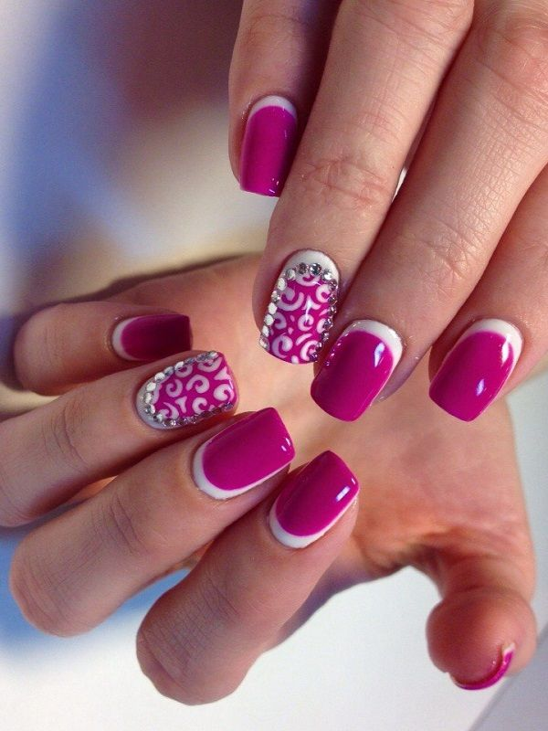 Be pretty in pink with this summery ensemble. You can add swirling patterns on top of your matte background then highlight the design with a thin white border around it. You can then add silver beads on top to finish the effect.