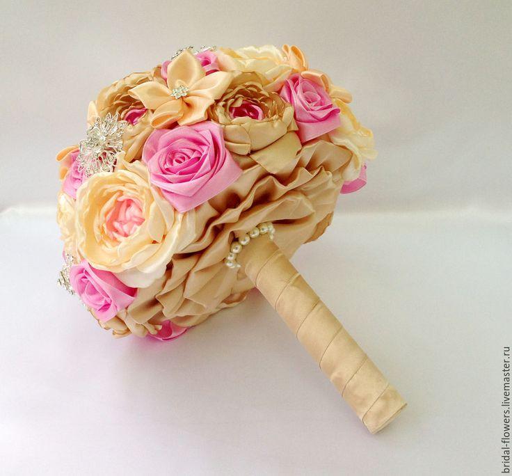 Купить Брошь букет невесты из пионов. Бежевый и розовый - бежевый, букет невесты, букет из пионов
