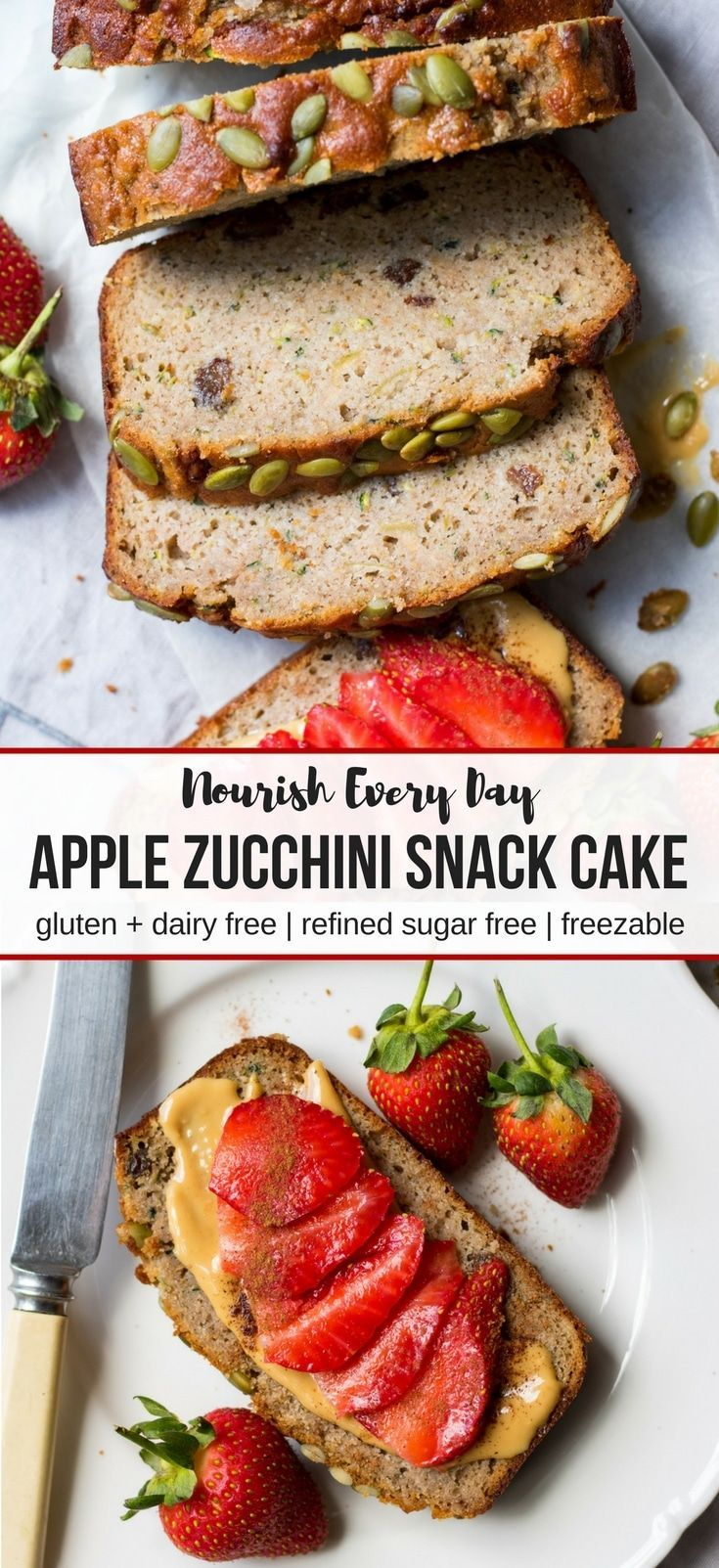 Apple zucchini snack cake (gluten free, dairy free) this loaf cake is made with wholesome ingredients for a healthy snack option, the perfect afternoon treat! Not too sweet. #snackcake #glutenfree #zucchinicake #dairyfree #healthysnacks