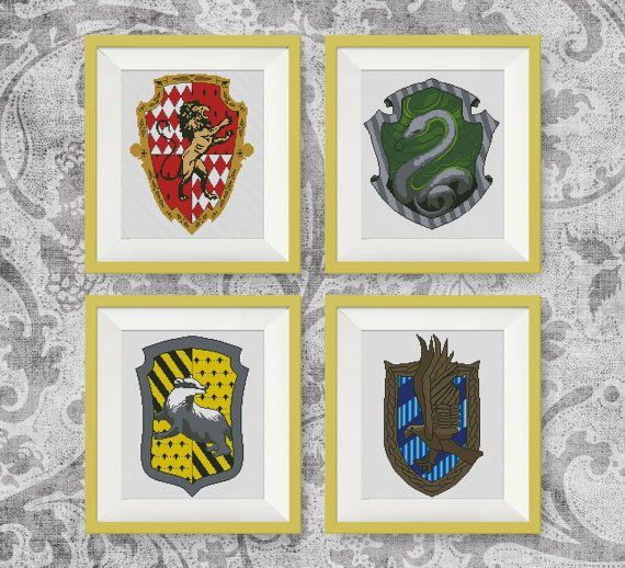 SET, Harry Potter Cross Stitch Pattern, Gryffindor, Slytherin, Hufflepuff, Ravenclaw, PDF counted cross stitch pattern, P139