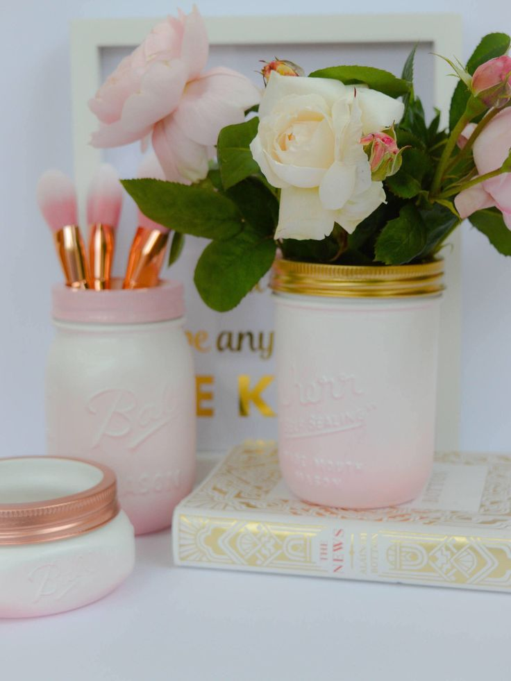 A personal favorite from my Etsy shop https://www.etsy.com/uk/listing/520383662/powder-pink-white-ombre-kerr-mason-jar