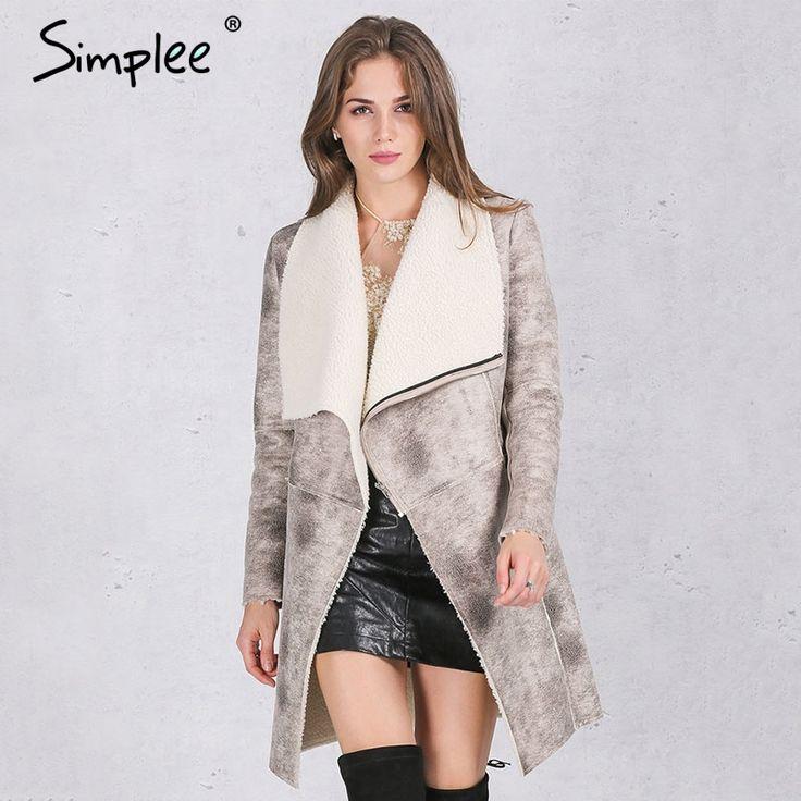 US $29.99 -- Simplee Autumn winter suede lambswool coat women 2016 Elegant warm zipper cashmere coat Turn down collar wide waisted overcoat aliexpress.com
