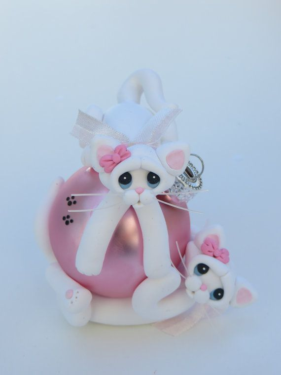 Polymer Clay Christmas Ornament White Cats by HeartOfClayGirl