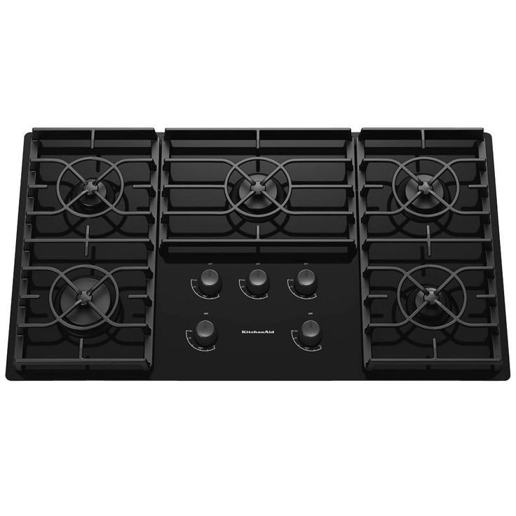 KitchenAid Architect Series II 36 in. Gas-on-Glass Gas Cooktop in Black with 5 Burners including 17000-BTU Professional Burner