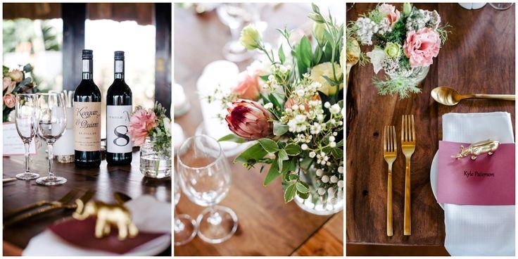 www.vanillaphotography.co.za | Durban wedding photographer, Tala Game Reserve, Durban wedding venue, game lodge, safari wedding, wedding decor, table decor, gold cutlery, gold accents, rustic, boho, simple, minimalist.