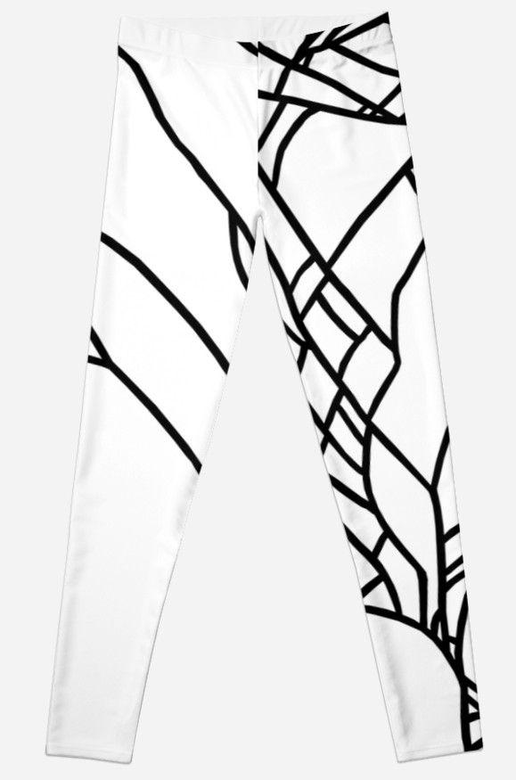 Cracked White on Black geometric leggings by ProjectM, $49