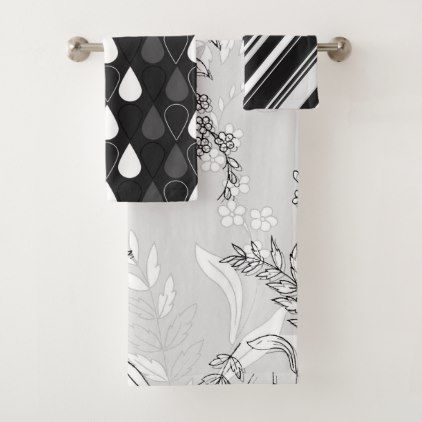 Black and White Floral With Stripes and Raindrops Bath Towel Set - bathroom idea ideas home & living diy cyo bath