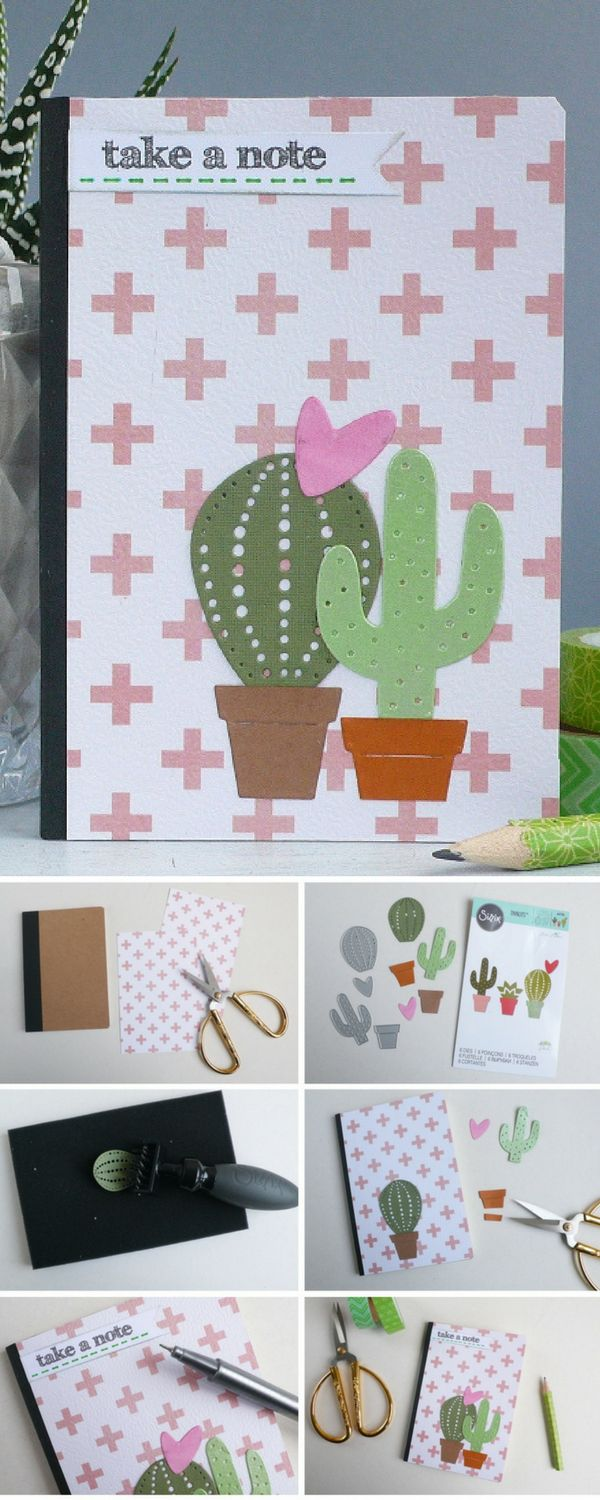 Time to cross the T's & dot the Cacti's with this adorable handmade notebook. Learn this Sizzix step-by-step tutorial how you can easily use Sizzix dies to create a delightful notebook.