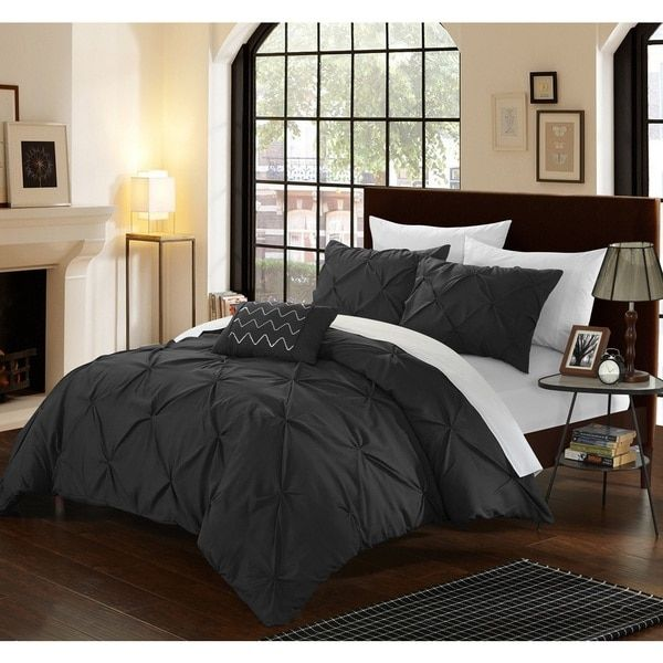 Chic Home Whitley Black Pinch Pleated 4-Piece Duvet Cover Set