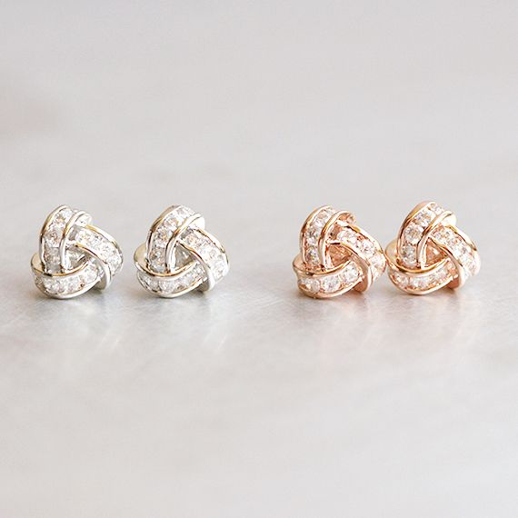 21d92d50c Swarovski Rose Gold Triangle Knot Earrings Studs in 2019 | A girls ...