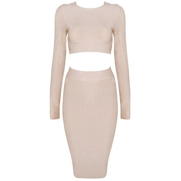 Posh Girl  Cream Long Sleeve Bandage Skirt Set ($168) ❤ liked on Polyvore featuring dresses, skirts, multi, creme dresses, cream long sleeve dress, longsleeve dress, high waist dress and pink long sleeve dress