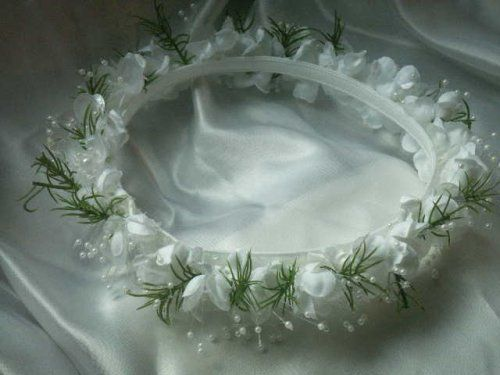 """White Silk with Green Sprigs Flower Girl Head Piece Halo Wedding Mis Quince Pageant 6 Inside Diameter 8 Outside Diameter 1-1/4 Height by Party Favors Plus. $10.00. White silk with green sprigs Flower Girl Head Piece halo wedding mis quince pageant 6"""" inside diameter 8"""" outside diameter 1-1/4"""" height"""
