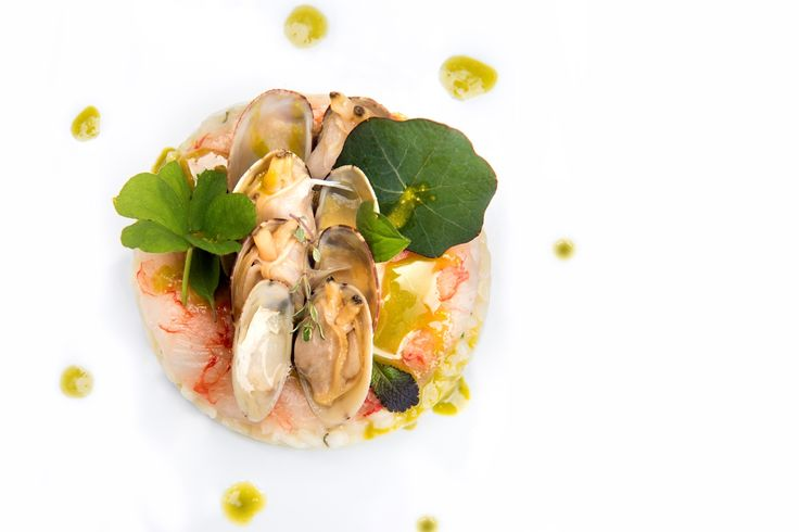 Vialone Nano risotto cremaed with lemon jam, raw prawns, clams and Bronte pistachio oil