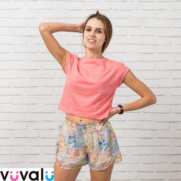 #Outfit verano niña junior #Mayoral formado por #camiseta tachuelas corta y #short estampado de gasa