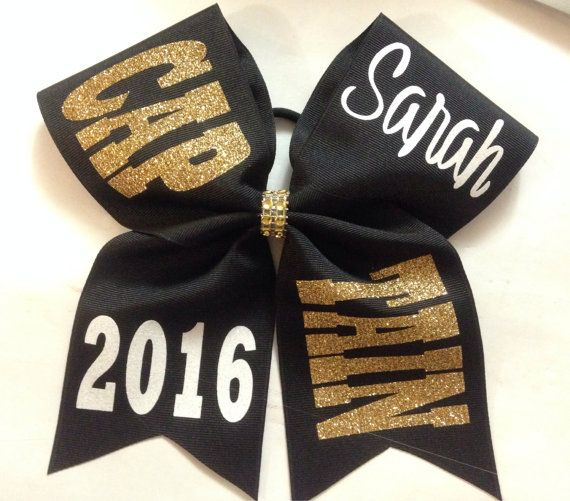 Cheer bow custom CAPTAIN by SarahsCheerBows on Etsy