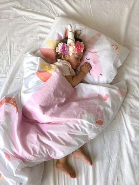Pink Unicorn Baby Crib Bedding Set Nursery Cotton Bedding