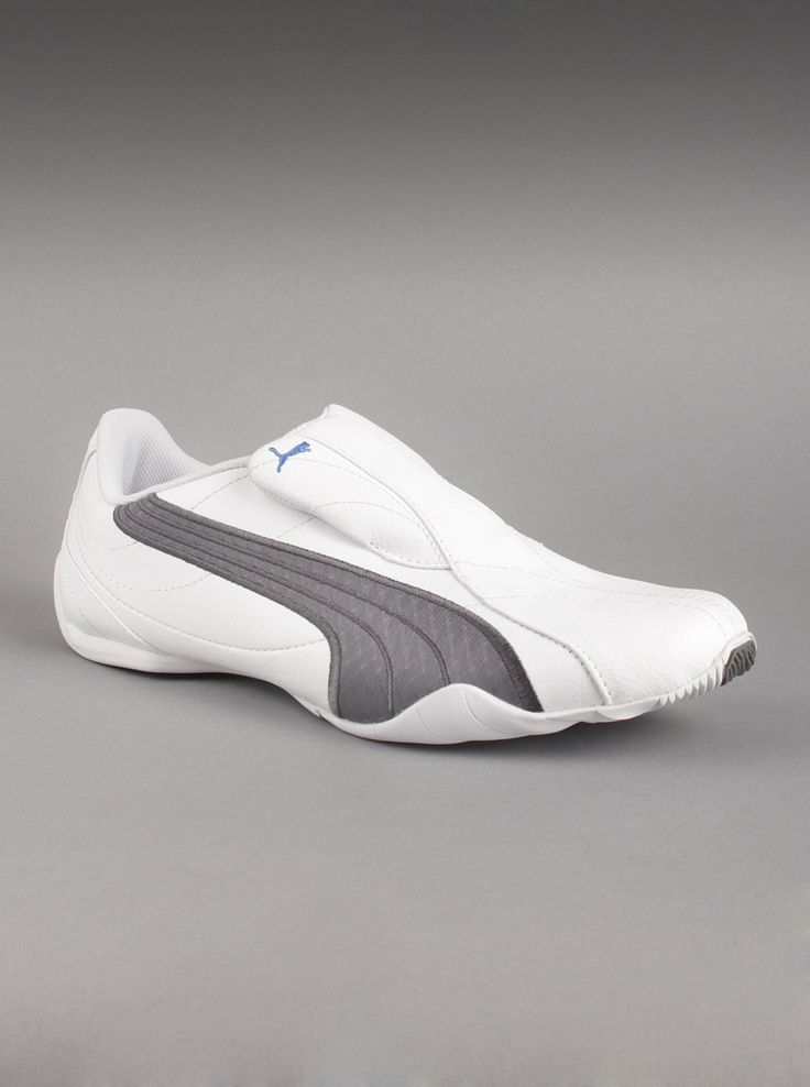 Puma® Men's Tergament Sport Sneakers in White/Grey Stripe.  If you enjoy a futuristic look with a low profile design, then the Puma mens Tergament Sport synthetic leather sneakers is the Puma sneaker for you. The slip-on design and breathability you get with this sneaker shoe will make this your favorite. Get Puma fashion this year.
