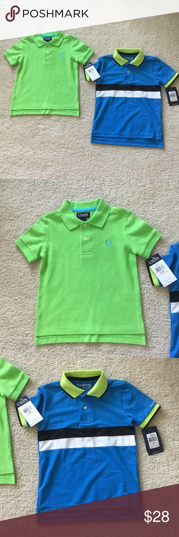 NWT Toddler Boys' Chaps Polos (Bundle of 2) sz 3T NWT Toddler Boys' Chaps Polo shirts, bundle of two (One light green with blue logo and one Chaps Sport, blue with black and white stripe). Size 3T. Two button placket. Vented hem. Chaps Shirts & Tops Polos