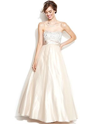 $122 Xscape Strapless Embellished Ball Gown - Shop all Wedding Dresses - Women - Macy's