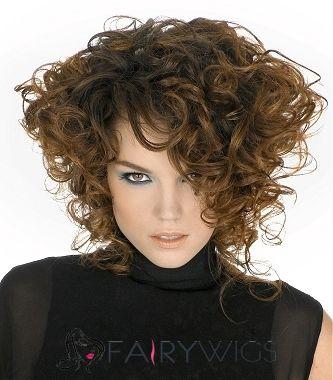 Special Cool Medium Brown Female Wavy Vogue Wigs 14 Inch