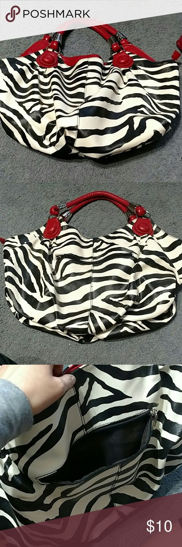"""Zebra Purse 1'9"""" wide, faux leather, fabric inside, black and white outside, dark brown and red inside & 4 pockets Bags Shoulder Bags"""