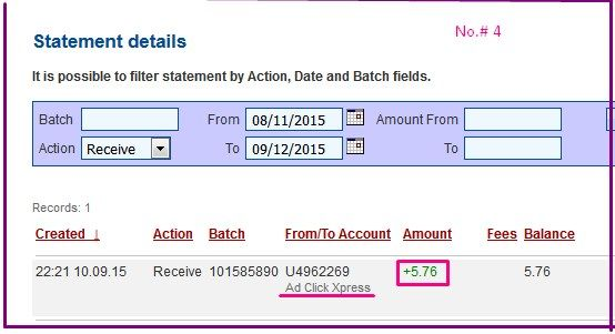 Get paid DAILY! I am getting paid daily at ACX and here is proof of my latest withdrawal. This is not a scam and I love making money online with Ad Click Xpress .I WORK FROM HOME less than 10 minutes and I manage to cover my LOW SALARY INCOME . If you are a PASSIVE INCOME ... http://www.adclickxpress.com/?r=v3cs7mpq78&p=mx