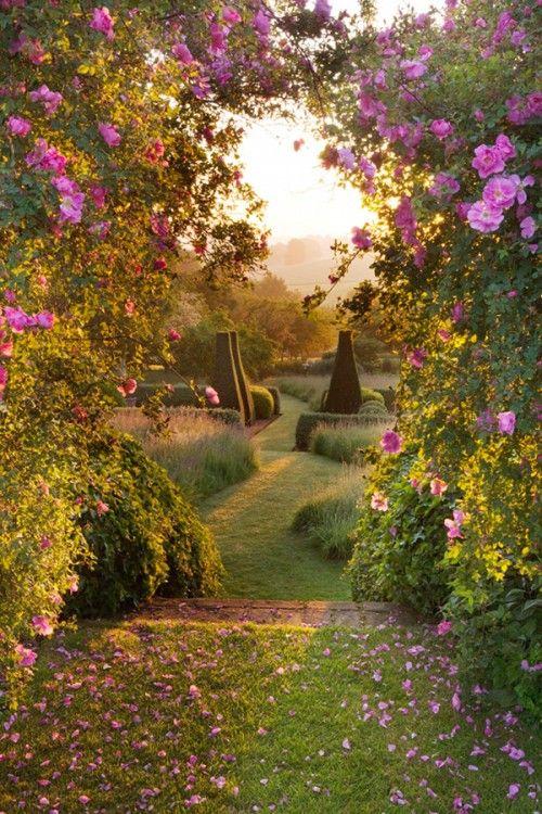Coucher de soleil sur jardin de rêve (Pettifers Garden - Oxfordshire). Photo de Clive Nichols