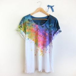 These colorful splash-dyed hand painted tops will definitely put you in the Spring mood.