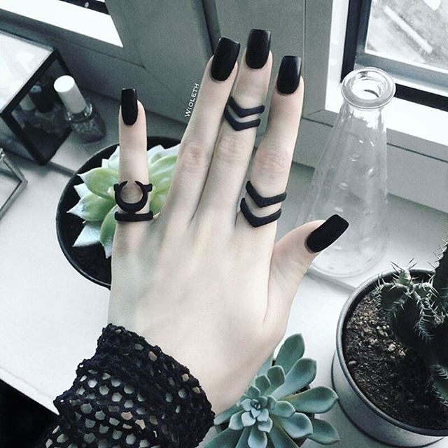 Creepin' it real in her Matte Blacks, 'Hunt' #midi + #ring and 'Occult' #ring…