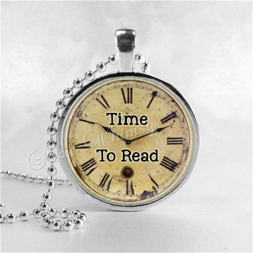 TIME TO READ Book Quote Necklace Pendant Jewelry by PixieWhimsy