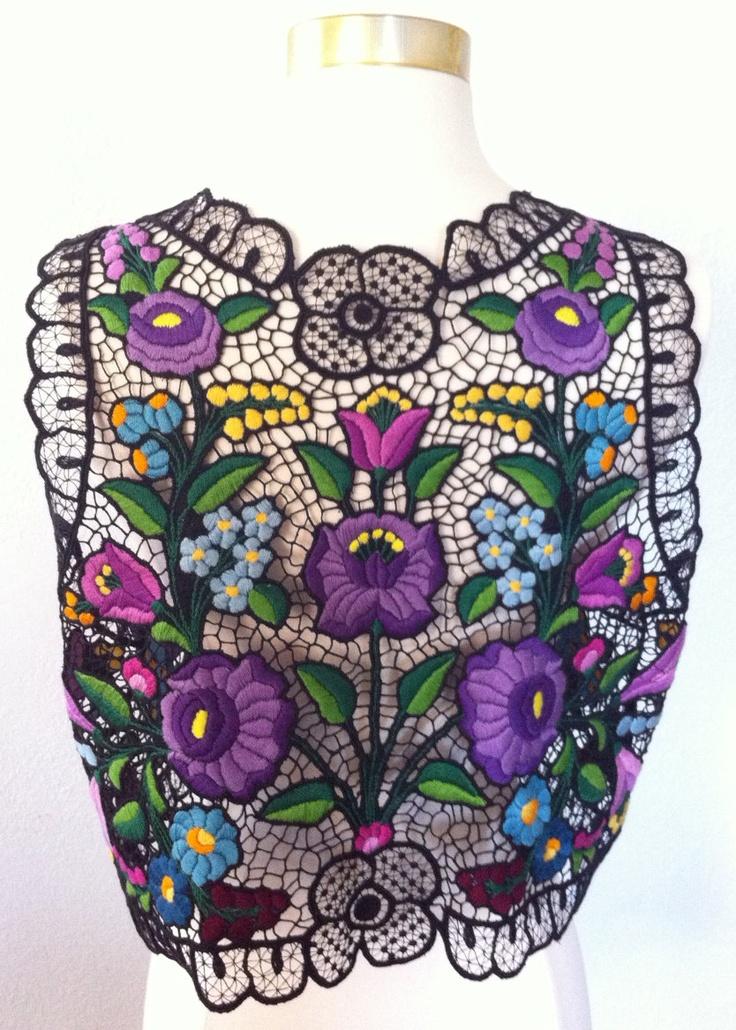 Unique Vintage Black Cut-Work Embroidery Vest. $35.00, via Etsy.