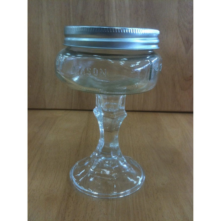 Elite Redneck Champagne and Martini Wine Glass 8 Oz  Mini mason jar stemware comes with screw on lid. Made with a Collection Elite Design Series Mason Ball Jar. Handmade, no two exactly alike