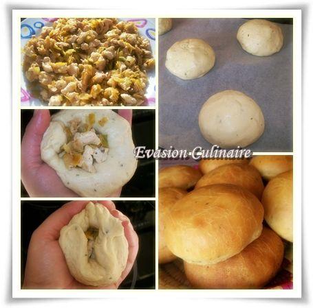Recette de buns au poulet express, petits pains farcis avec du poulet ou viande hachée legumes fromage..etc avec une pate a pain rapide sans repos express
