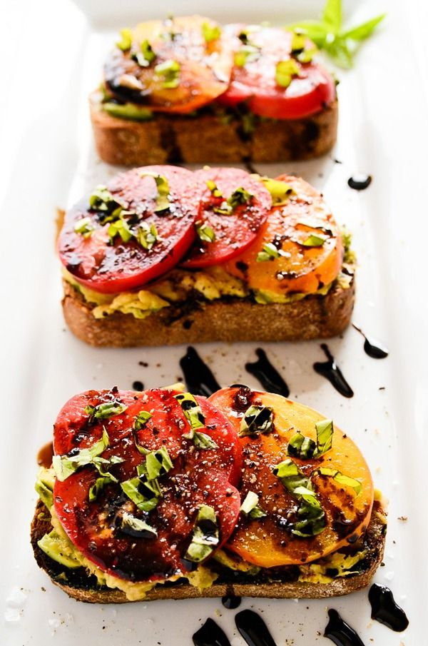 High Protein Vegetarian Meals Avocado and Heirloom Tomato Toast with Balsamic Drizzle