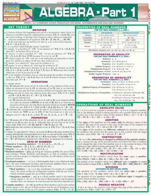 Algebra - Part 1 Quick Review.  http://www.Examville.com