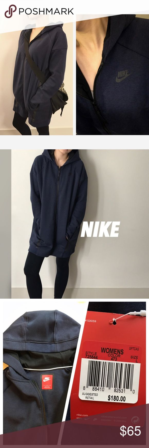 "NEW‼️Nike Mesh Cocoon Hoodie Mesh Cocoon Jacket. Feels like big Hoodie. Style #725844. Model wears size L ( For reference, I'm 5'5"" tall, 121lb, it's a bit big for me.) It has a lot room, very cozy but the hood and both underarm sides is mesh design. Underarm to the bottom has 23inches. Color: Navy. New with tag. Retail price is $180. Great use for outfit on the plane✈️ or maternity wear. Size S and L available✔️✔️✔️ Nike Jackets & Coats"