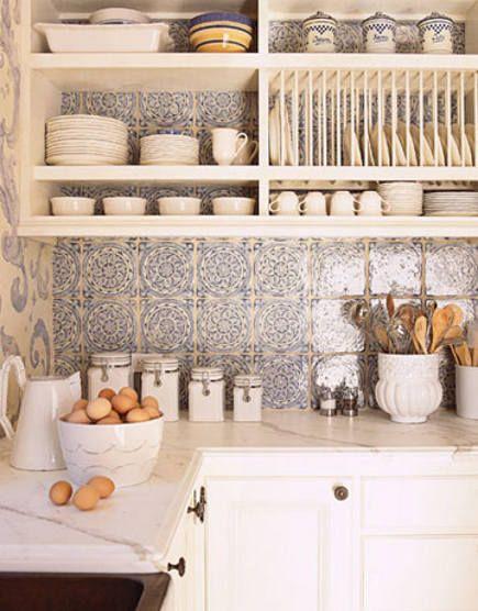 Blue and White tile. Open kitchen storage. Plate Rack. atticmag.com