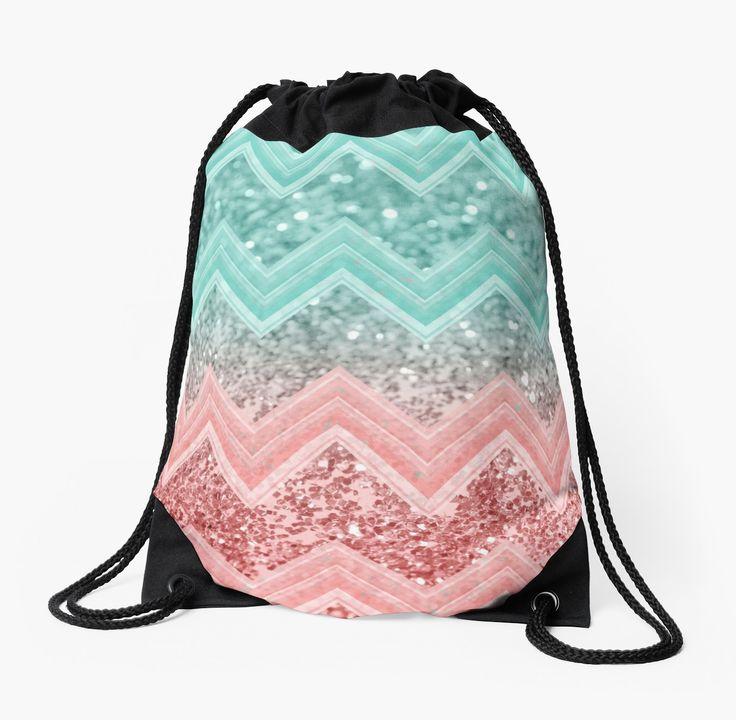 """Summer Vibes Glitter Chevron #1 #coral #mint #shiny #decor #art "" Drawstring Bags by anitabellajantz   Redbubble"